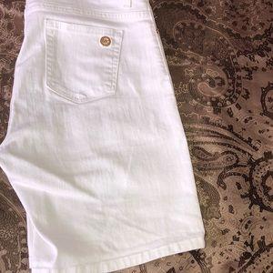 All white Denim Crop Jean shorts